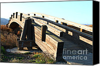 Wood Bridges Canvas Prints - Pedestrian Bridge At Martinez Regional Shoreline Park in Martinez California . 7D10513 Canvas Print by Wingsdomain Art and Photography