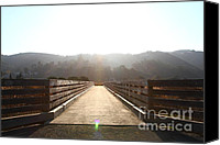 Wood Bridges Canvas Prints - Pedestrian Bridge At Martinez Regional Shoreline Park in Martinez California . 7D10534 Canvas Print by Wingsdomain Art and Photography