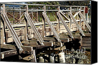 Wood Bridges Canvas Prints - Pedestrian Bridge At Point Isabel In Richmond California . 7D15082 Canvas Print by Wingsdomain Art and Photography