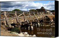 Wood Bridges Canvas Prints - Pedestrian Bridge At Point Isabel In Richmond California . 7D15083 Canvas Print by Wingsdomain Art and Photography