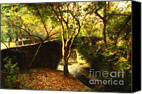 Universities Digital Art Canvas Prints - Pedestrian Bridge At Strawberry Creek  . 7D10152 . Painterly Canvas Print by Wingsdomain Art and Photography
