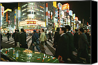 City Streets Photo Canvas Prints - Pedestrians Cross A Crowded Tokyo Canvas Print by Justin Guariglia