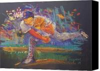 Baseball Pastels Canvas Prints - Pedro Canvas Print by Tom Forgione