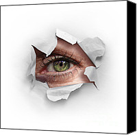 Paper Photo Canvas Prints - Peek Through a Hole Canvas Print by Carlos Caetano