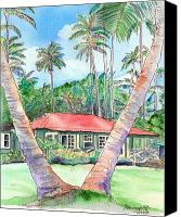 House Painting Canvas Prints - Peeking Between the Palm Trees Canvas Print by Marionette Taboniar