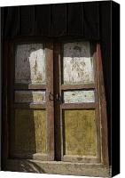 Tibetan Canvas Prints - Peeling Paint On Door In Buddhist Canvas Print by David Evans
