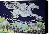 House Tapestries - Textiles Canvas Prints - Pegasus Flying Over Stream Canvas Print by Carol  Law Conklin