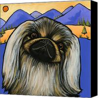 Dogs Canvas Prints - Pekinese Canvas Print by Leanne Wilkes