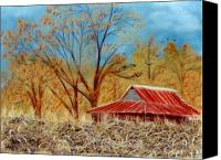 Rural Landscapes Pastels Canvas Prints - Pelham Barn Canvas Print by Jan Amiss