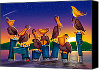 Airbrush Art Digital Art Canvas Prints - Pelican Sunset Whimsical Cartoon Tropical birds Seascape print blue orange purple yellow Canvas Print by Walt Curlee