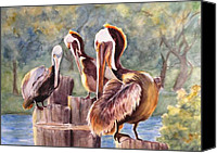 Shore Mixed Media Canvas Prints - Pelican Town Meeting  Canvas Print by Barbara Jung