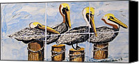 House Ceramics Canvas Prints - Pelicans Canvas Print by Victoria Kader