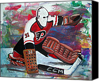 Hockey Goalie Canvas Prints - Pelle Lindbergh Canvas Print by Steve Benton