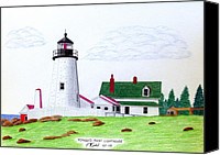 Colored Pencil Canvas Prints - Pemaquid Point Lighthouse Canvas Print by Frederic Kohli