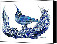Little Birds Canvas Prints - Pen and ink drawing of small Blue Bird  Canvas Print by Mario  Perez