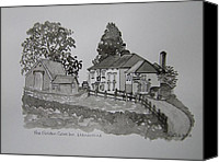 Magician Drawings Canvas Prints - Pen and Ink-The Golden Grove Inn-Llanarthne-01 Canvas Print by Pat Bullen-Whatling