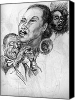 Patrick Mills Canvas Prints - pencil study for Satchmo Lady Day and Nina Simone Canvas Print by Patrick Mills
