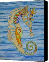 Trippy Painting Canvas Prints - Penelope the Seahorse Canvas Print by Erika Swartzkopf