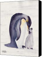 Watercolour Canvas Prints - Penguin and Baby Canvas Print by Ken Powers