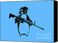 Innocence Canvas Prints - Penguin soldier Canvas Print by Pixel Chimp