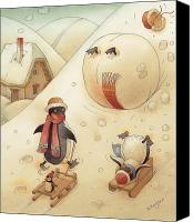 White Drawings Canvas Prints - Penguins Canvas Print by Kestutis Kasparavicius