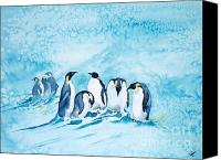 Fauna Painting Canvas Prints - Penguins Canvas Print by Zaira Dzhaubaeva