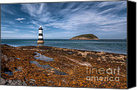 Wales Digital Art Canvas Prints - Penmon Lighthouse Canvas Print by Adrian Evans