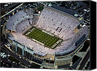 Field Sports Canvas Prints - Penn State Aerial View of Beaver Stadium Canvas Print by Steve Manuel