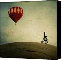 Hot Air Canvas Prints - Penny Farthing for Your Thoughts Canvas Print by Irene Suchocki