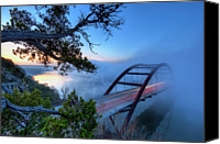 Austin Canvas Prints - Pennybacker Bridge In Morning Fog Canvas Print by Evan Gearing Photography