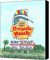 Icon Painting Canvas Prints - Pensacola Beach Sign Canvas Print by Richard Roselli