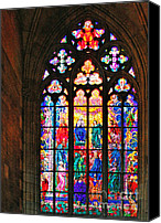 Panel Canvas Prints - Pentecost window - St. Vitus Cathedral Prague Canvas Print by Christine Till