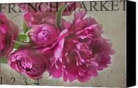 Market Canvas Prints - Peonies Canvas Print by Rebecca Cozart