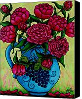 Fuchsia Canvas Prints - Peony Party Canvas Print by Lisa  Lorenz