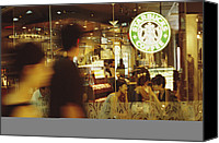 Gesturing Canvas Prints - People At One Of The First Starbucks Canvas Print by Justin Guariglia