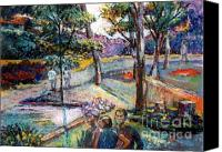 Landscapes Pastels Canvas Prints - People In Landscape Canvas Print by Stan Esson