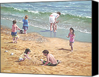 Crowd Scene Canvas Prints - people on Bournemouth beach kids in sand Canvas Print by Martin Davey