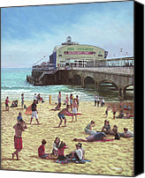 Tourists Painting Canvas Prints - people on Bournemouth beach Pier theatre Canvas Print by Martin Davey