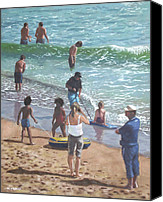 Tourists Painting Canvas Prints - people on Bournemouth beach pulling dingys Canvas Print by Martin Davey