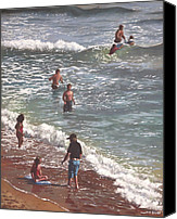 Tourists Painting Canvas Prints - People On Bournemouth Beach Waves And People Canvas Print by Martin Davey