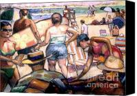 Landscapes Pastels Canvas Prints - People On The Beach Canvas Print by Stan Esson