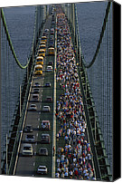 Jogging Canvas Prints - People Participating In The Annual Canvas Print by Phil Schermeister