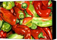 Vegetables Canvas Prints - Peppers Canvas Print by Nadi Spencer