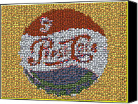 Bottle Caps Canvas Prints - Pepsi Bottle Cap Mosaic Canvas Print by Paul Van Scott
