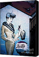 Bottle Cap Canvas Prints - Pepsi is here - Pepsi Cola Ad in Prague CZ Canvas Print by Christine Till