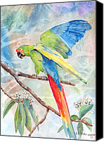 Parrots Canvas Prints - Perfect Landing Canvas Print by Arline Wagner