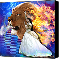 Lion Digital Art Canvas Prints - Perfect peace in perfect Love Canvas Print by Dolores DeVelde