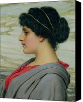 Hairstyle Painting Canvas Prints - Perilla Canvas Print by John William Godward