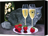 Pet Photography Painting Canvas Prints - Perrier Jouet et Le Chat Canvas Print by Karen Zuk Rosenblatt