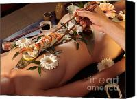 Stomach Canvas Prints - Person Eating Nyotaimori Body Sushi Canvas Print by Oleksiy Maksymenko